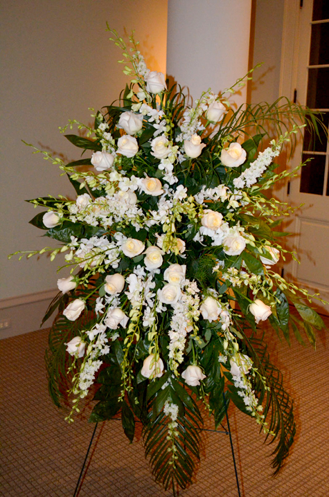 40th Anniversary Funeral Spray with 32 White Roses representing the victims
